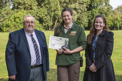 Kate was presented her award by Regional Course Coordinator, Dr David Beeston (left) and Curriculum Leader, Penny Hounsome (right).