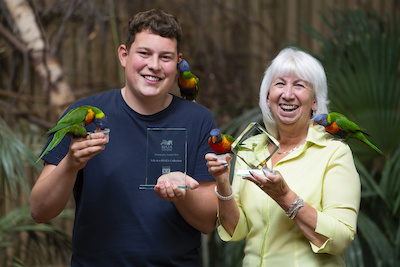 Staff members Matthew Lissimore and Sue Day celebrate their national awards at West Midland Safari Park.